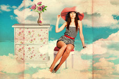 Vintage collage with beauty young woman Stock Images