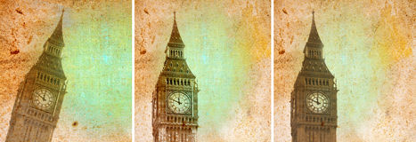 Vintage collage of London Big Ben Stock Image