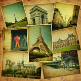 Vintage collage. Paris travel. Royalty Free Stock Images