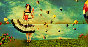 Vintage Collage With Woman Stock Photography