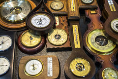 Vintage  barometers and thermometers Royalty Free Stock Photography