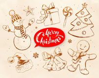 Vintage collection of Christmas objects. Christmas vintage line art vector set with festive objects and red lettering banner on obsolete paper background Stock Photo
