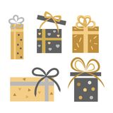 Vintage Collection of Five Gift Boxes on White. Vintage collection of five decorated closed and opened gift boxes on white. Vector banner of dark grey and golden Stock Photo