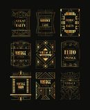Vintage collection of golden Art Deco frames. Luxury vector emblems for business logo, party invitation card or stock photo