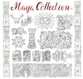 Vintage collection with hand drawn maya and aztec patterns and symbols Royalty Free Stock Photos