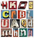 Vintage collection of neon letters Stock Photography