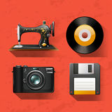 Vintage collections with sewing machine and disks Stock Images