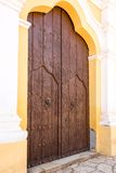 Vintage Colonial Church Door in Remedios,Cuba Stock Photo