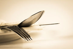 Vintage color of close up dinning silverware fork , spoon and kn Stock Images