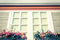 Vintage color of decorative white windows. Royalty Free Stock Photos
