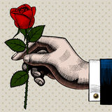 Vintage color engraving drawing of hand with a red rose Stock Photos