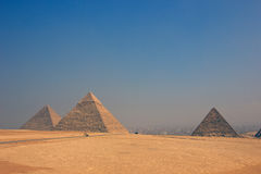 Vintage color images of Giza pyramids in Egypt. Three pyramids Royalty Free Stock Photography