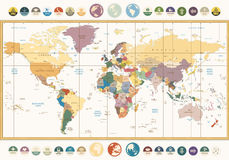 Vintage color political World Map with round flat icons and glob Stock Photos