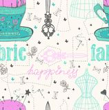 Vintage Color Seamless pattern - fashion and sewing Royalty Free Stock Photos