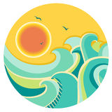 Vintage color seascape with sun on round symbol Stock Photos