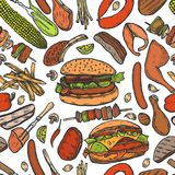 Seamless pattern barbecue grill. Vintage color vector engraving Seamless pattern barbecue grill. Top view with charcoal, mushroom, tomato, pepper, sausage Stock Photography
