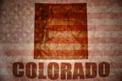 Vintage colorado map. Colorado map on a vintage american flag background royalty free stock image