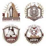 Vintage Colored Ancient Egypt Emblems Set Royalty Free Stock Photo