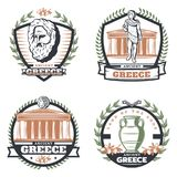 Vintage Colored Ancient Greece Emblems Set. With parthenon greek philosopher face coin vase olive branches isolated vector illustration Royalty Free Stock Image
