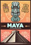 Vintage Colored Ancient Maya Poster. With ceremonial masks totem and aztec pyramid vector illustration royalty free illustration