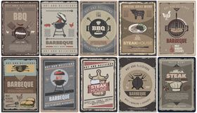 Vintage Colored Barbecue Brochures Collection. With grill meat sausages burgers bbq tools and equipment isolated vector illustration Royalty Free Stock Photos