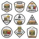 Vintage Colored Burger Labels Set. With sandwich french fries soda and cheeseburger ingredients isolated vector illustration Stock Images