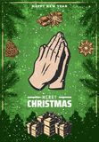Vintage Colored Christmas Festive Poster. With praying hand gesture spices fir branches present boxes vector illustration Stock Photos