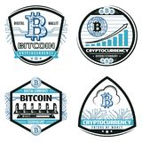 Vintage Colored Crypto Currency Emblems Set Stock Photos