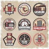 Vintage Colored Filling Station Labels Set. With gasoline pumps canister fuel gauge car refilling petrol nozzle isolated vector illustration Stock Photography