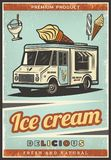 Vintage Colored Fresh Ice Cream Poster. With sweet products sundae and delivery truck vector illustration Royalty Free Stock Photos