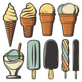 Vintage Colored Ice Creams Set. In waffle cones on sticks with different flavors ingredients and sundae isolated vector illustration Stock Image