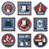 Vintage Colored Magic Illusion Stickers Set Royalty Free Stock Photo