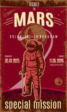 Vintage Colored Mars Discovery Poster. With text astronaut wearing spacesuit on planet and space background vector illustration Royalty Free Stock Photography