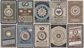 Vintage Colored Nautical Brochures Set. With text different navigational compasses anchors ships map captain hat octopus isolated vector illustration Royalty Free Stock Photo