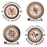 Vintage Colored Nautical Round Emblems Set Stock Images
