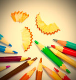 Vintage colored pencils. With chips on white background Royalty Free Stock Images