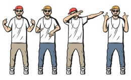 Vintage Colored Rappers Set Royalty Free Stock Photos