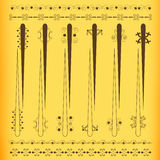 Vintage colored set of curtain rod. Curtain rod with oriental ornaments vector illustration