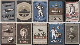 Vintage Colored Space Posters. With spaceships ufo planets astronauts asteroids Mars colonization and research isolated vector illustration Royalty Free Stock Photography