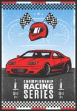 Vintage Colored Sport Car Racing Poster. With inscription fast automobile crossed finish flags helmet spark plugs vector illustration Stock Image