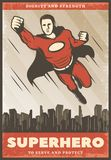 Vintage Colored Superhero Poster. With flying powerful super hero wearing cape on cityscape vector illustration royalty free illustration