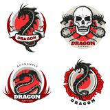 Vintage Colored Tattoo Dragon Emblems Set. With angry mythological monsters skull and roses isolated vector illustration Royalty Free Stock Photo