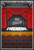 Vintage Colored Theatre Advertising Poster royalty free illustration