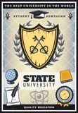 Vintage Colored University Poster. With crossed keys on shield globe book scroll paper badge feather graduation cap vector illustration Stock Photos
