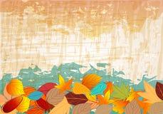 Vintage colorful autumn leaves illustration Stock Photos