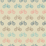 Vintage colorful bicycle seamless pattern. Background pattern silhouette bike transport. Vector illustration Stock Images