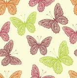 Vintage colorful butterfly seamless pattern with hand drawn doodle butterfly illustrations Royalty Free Stock Photo
