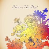 Vintage colorful floral bouquet, greeting card Stock Image