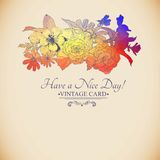 Vintage colorful floral bouquet, greeting card Royalty Free Stock Photography