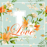 Vintage Colorful Flowers Graphic Design - Orange Lilies Stock Photography